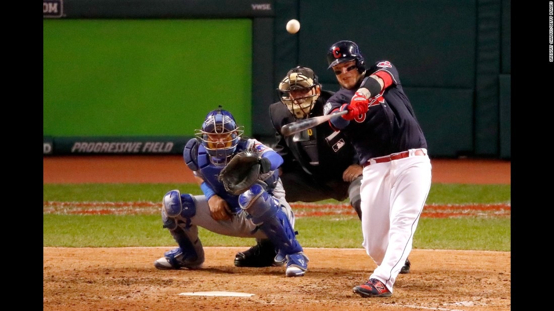 Cleveland's Roberto Perez hits a three-run homer in Game 1.