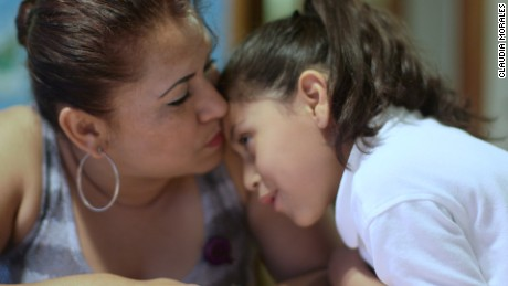 Yanira Lopez and her daughter a year after crossing the US border.