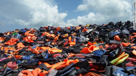 Piles of lifejackets in Lesvos island, about 10m high on 11 August 2016. Cheap and crappy lifejackets were sold in Turkey. About 500.000 lifejackets are gathered here near Molivos in Lesvos island from the 2015 arrivals. Also the Chinese Ai Weiwei artist took many of them in Berlin and exhibited them in a public building. Thousands of people drawned between Greece and Turkey as the dinghies were in bad condition and the lifejackets didn't work. In 2015 there were days that there were more than 5000 refugee arrivals daily.