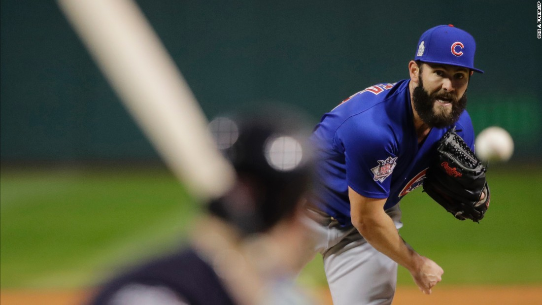 Jake Arrieta of the Cubs throws a pitch during the first inning in Game 2.