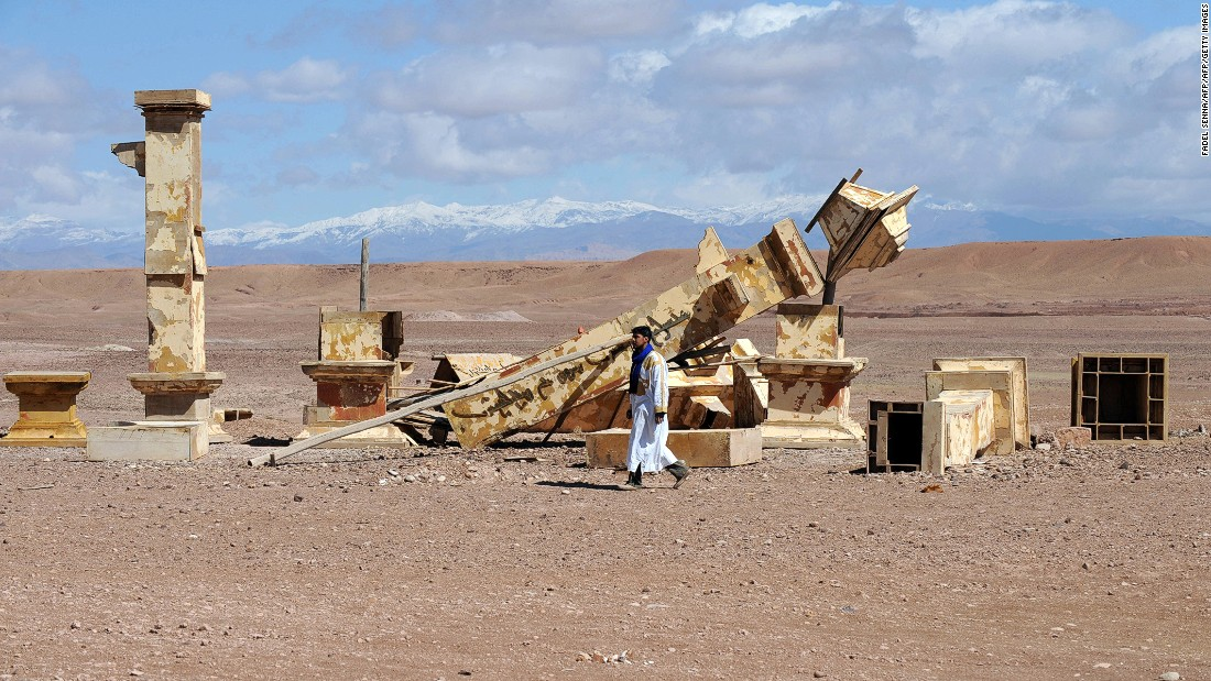 "The <a href=""https://www.studiosatlas.com/"" target=""_blank"">Atlas Studios</a>, pictured -- near Ouarzazate at the gateway to the Sahara desert -- is one of Morocco's largest and covers more than 322,000 square feet, according to the company."