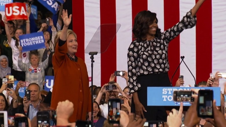 Michelle Obama joins Hillary Clinton on stage