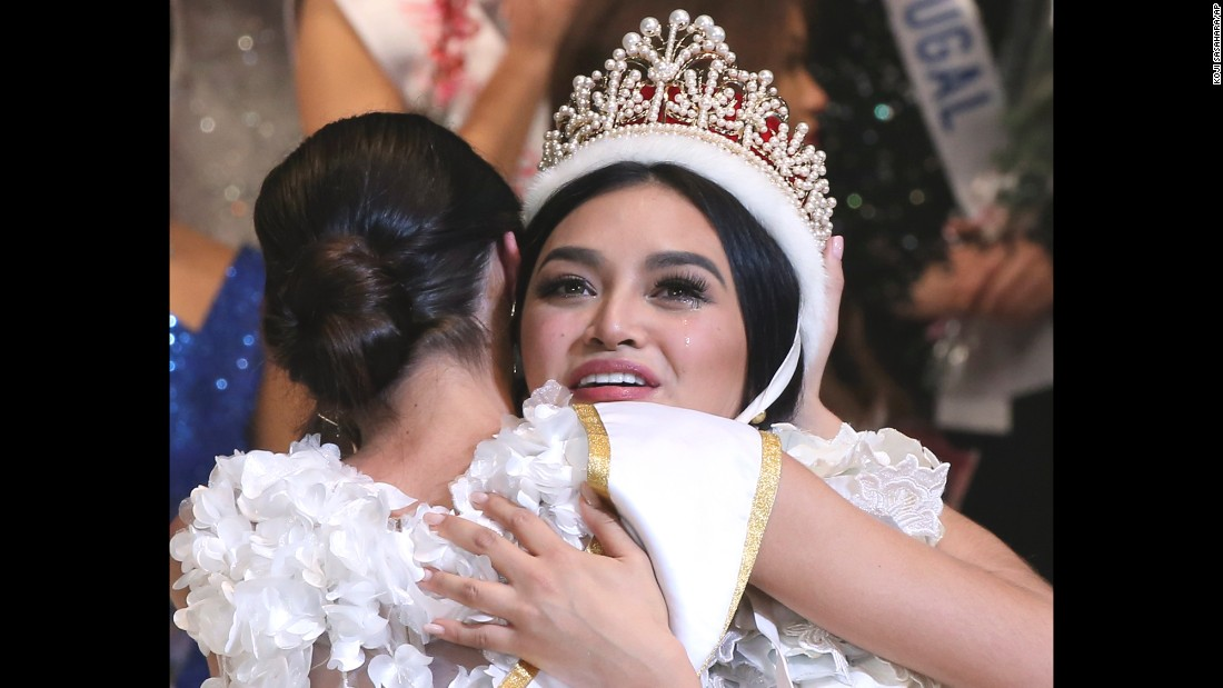 Miss Philippines, Kylie Verzosa, is congratulated after winning the Miss International beauty pageant in Tokyo on Thursday, October 27.