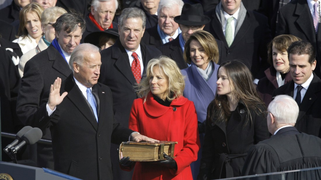 Biden takes the vice president oath of office next to his second wife, Jill, in January 2009. Biden had to resign from the Senate, where he had held office since 1973.