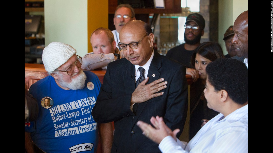 Khizr Khan, a Gold Star father, campaigns for Hillary Clinton in Norfolk, Virginia, on Wednesday, October 26. Khan made headlines at the Democratic National Convention when he criticized Donald Trump in his speech and held up a copy of the U.S. Constitution. Khan's son, U.S. Army Capt. Humayun Khan, was killed in 2004 while serving in Afghanistan.