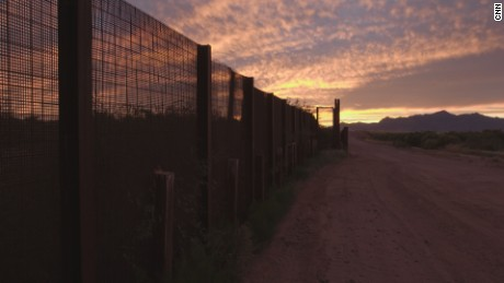 The fence that divides the US and Mexico in Naco, Arizona.
