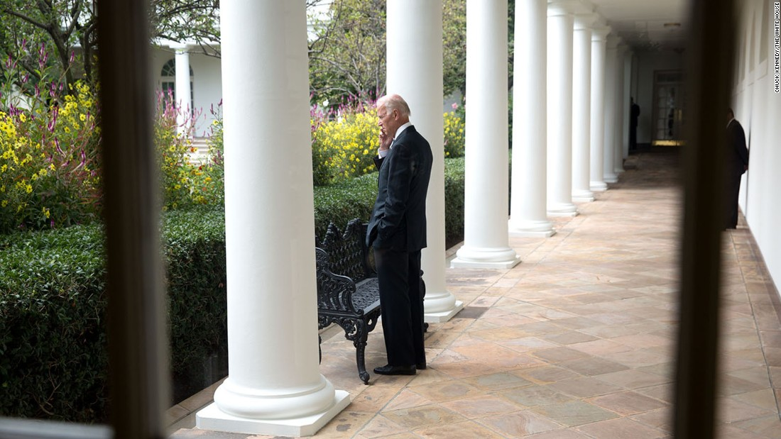 Biden speaks on the phone outside the White House in September 2014.