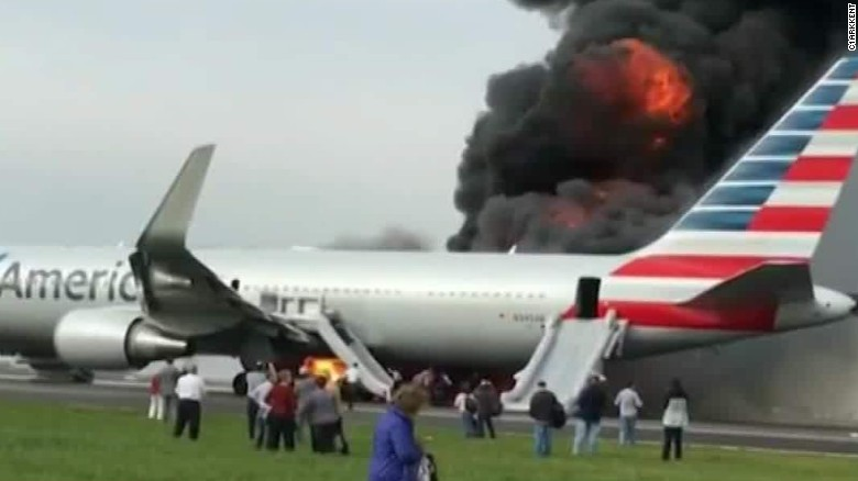 At Chicago O Hare American 767 Catches Fire On Runway Cnn