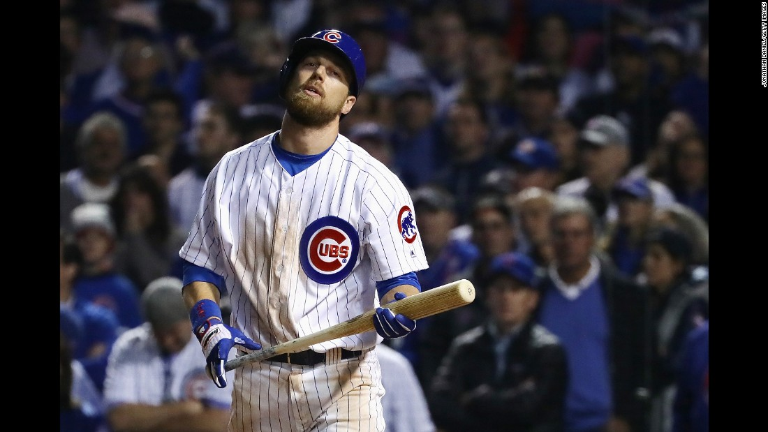 Ben Zobrist of the Cubs reacts after striking out in the ninth inning in Game 3.