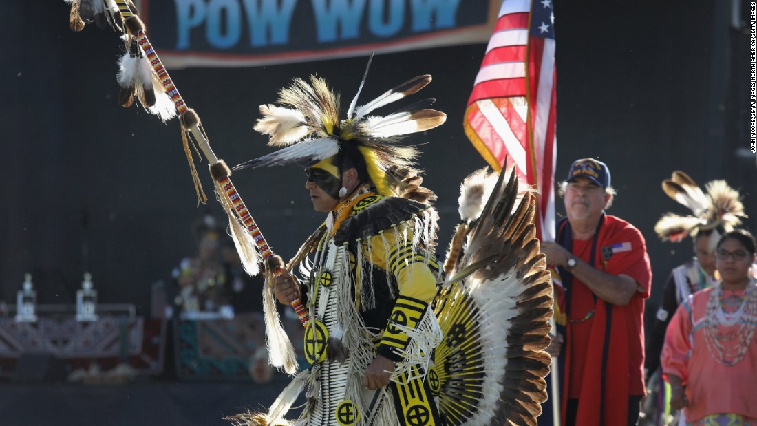 "Native American veterans take part in the ""Rocking the Rez"" powwow on a west Texas reservation near the Mexican border on Saturday, October 1."