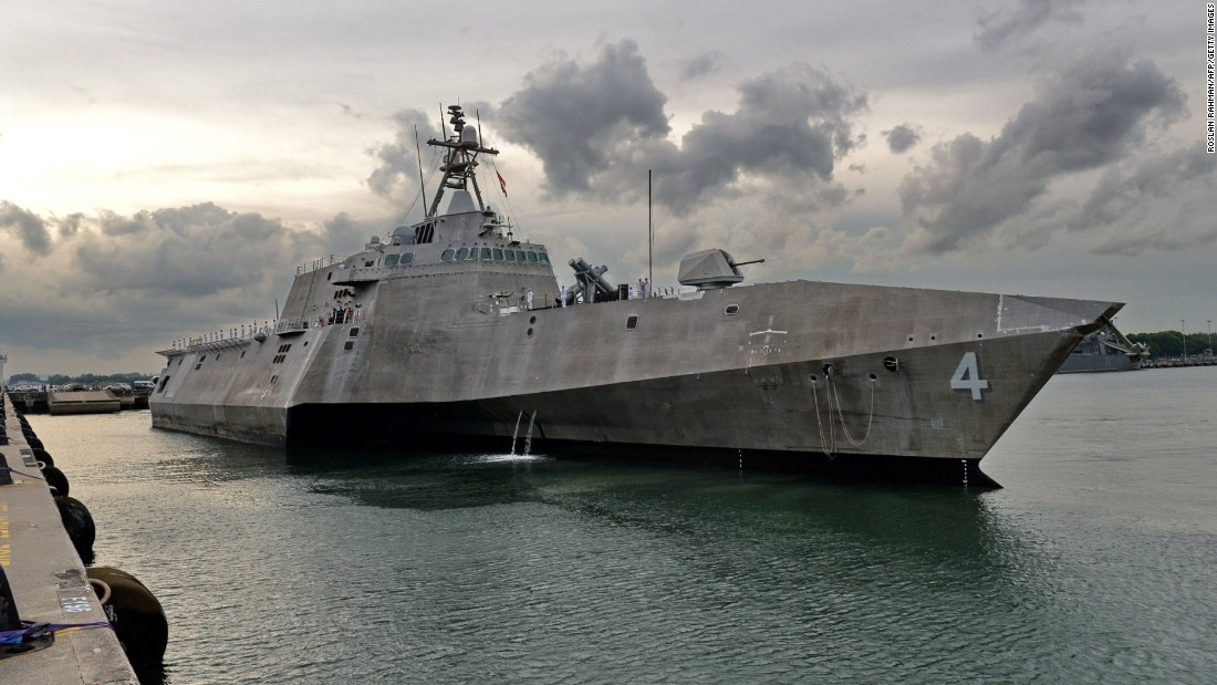 The USS Coronado docks at a naval base in Singapore on Sunday, October 16.