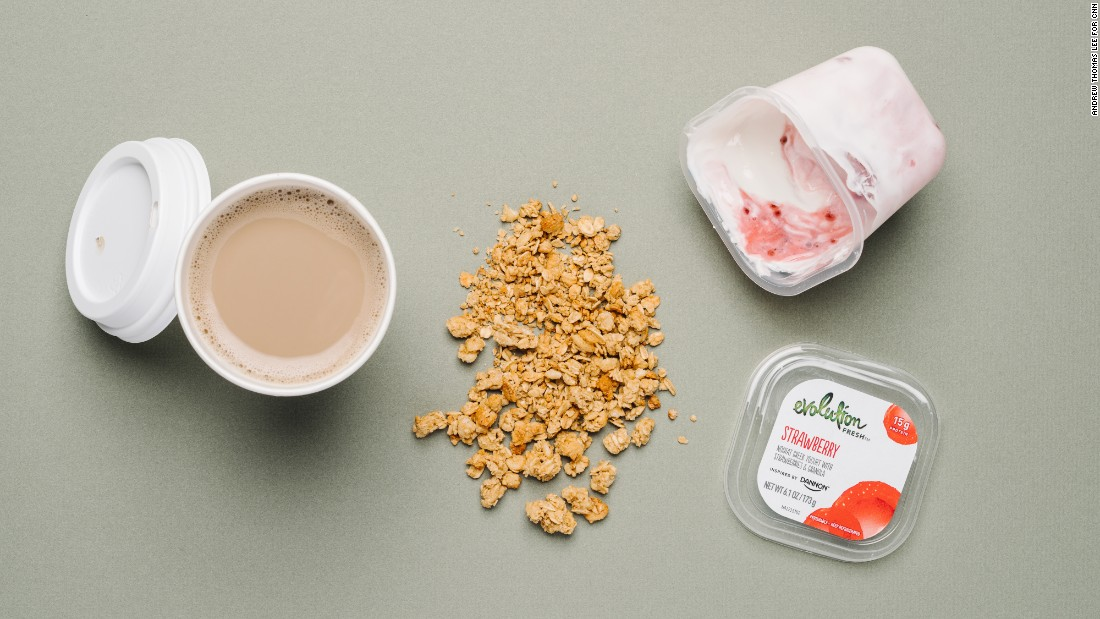 A strawberry Greek yogurt parfait at Starbucks has 14 grams of protein and provides 15% of your daily calcium needs. A café latte with soy milk adds 7 grams of protein and another third of your daily calcium.
