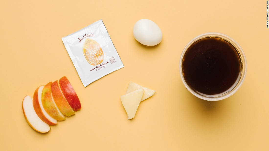 The protein bistro box, with a hard-boiled egg, cheddar cheese, peanut butter and apple slices (minus the muesli bread and grapes) has a carb count of only 11 grams. And café Americano is a low as it goes carb-wise.