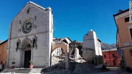 A view of the facade of the San Benedetto Basilica, in Norcia, after the quake on Sunday.