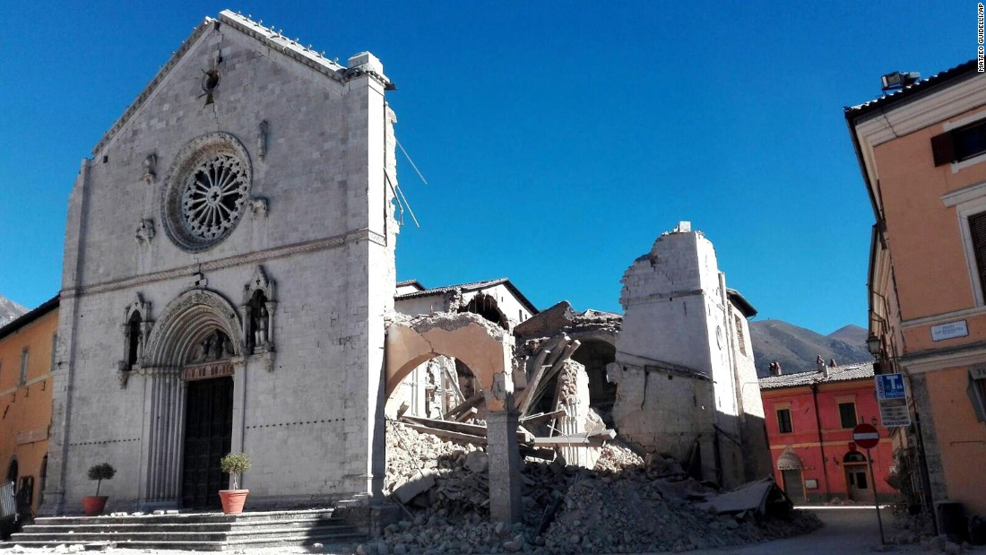 The facade of the Basilica of San Benedetto in Norcia remains standing on October 30, but much of its core has collapsed.