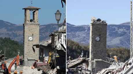 The bell tower of Amatrice, which remained standing after the August earthquake, is seen with its top partly collapsed after Sunday's tremor.
