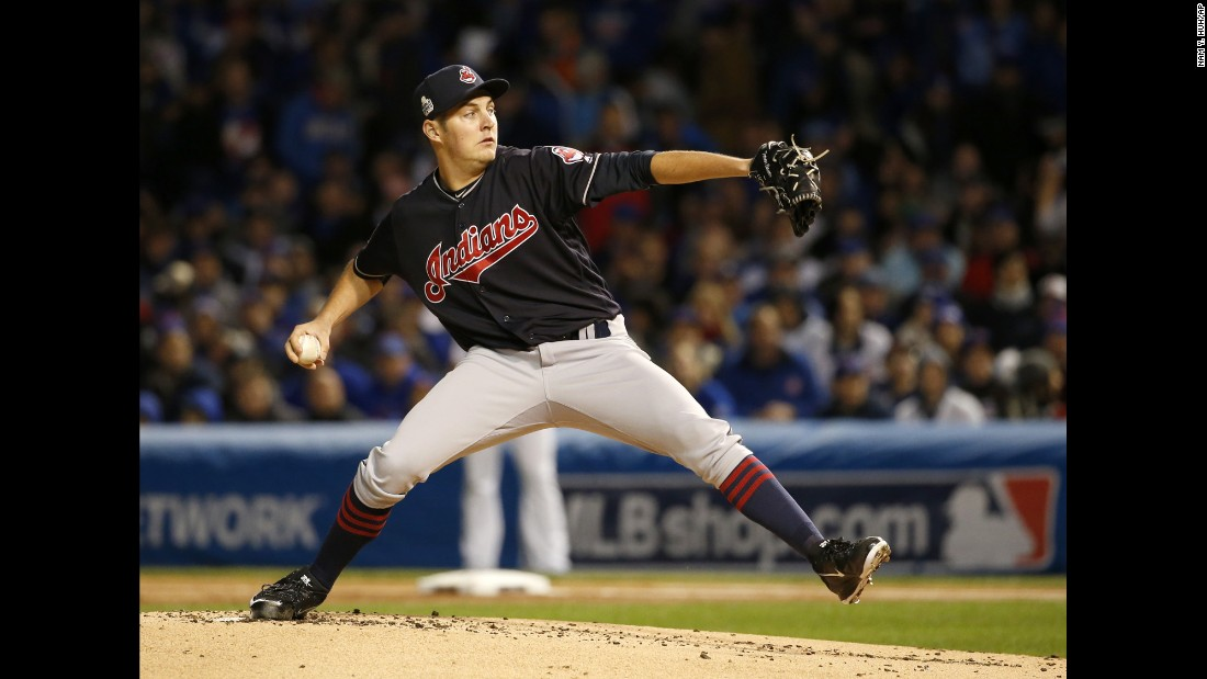 Cleveland Indians starting pitcher Trevor Bauer throws during the first inning of Game 5.