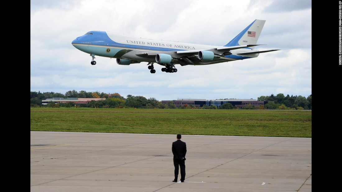 Air Force One lands in Coraopolis, Pennsylvania, on Thursday, October 13.