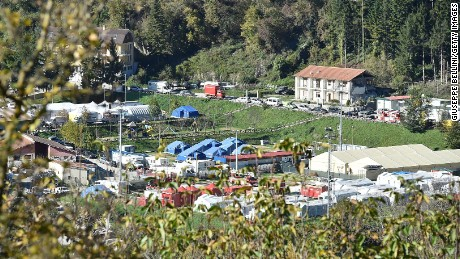Temporary shelters set up in the town of Arquata del Tronto following Sunday's massive earthquake