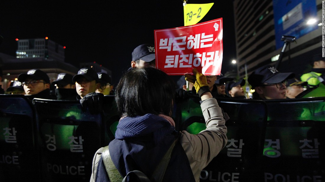 Police estimated that around 12,000 demonstrators attended the evening protest, according to the country's semi-official Yonhap news agency.