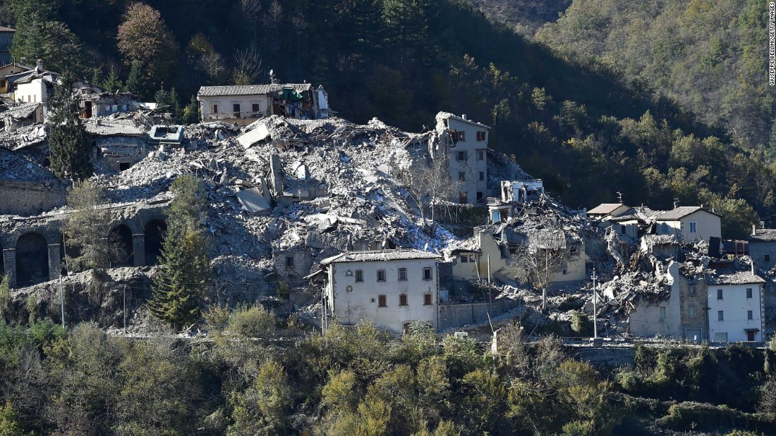 A general view of Arquata del Tronto shows the extent of damage to the town in the region of Perugia on Sunday, October 30.