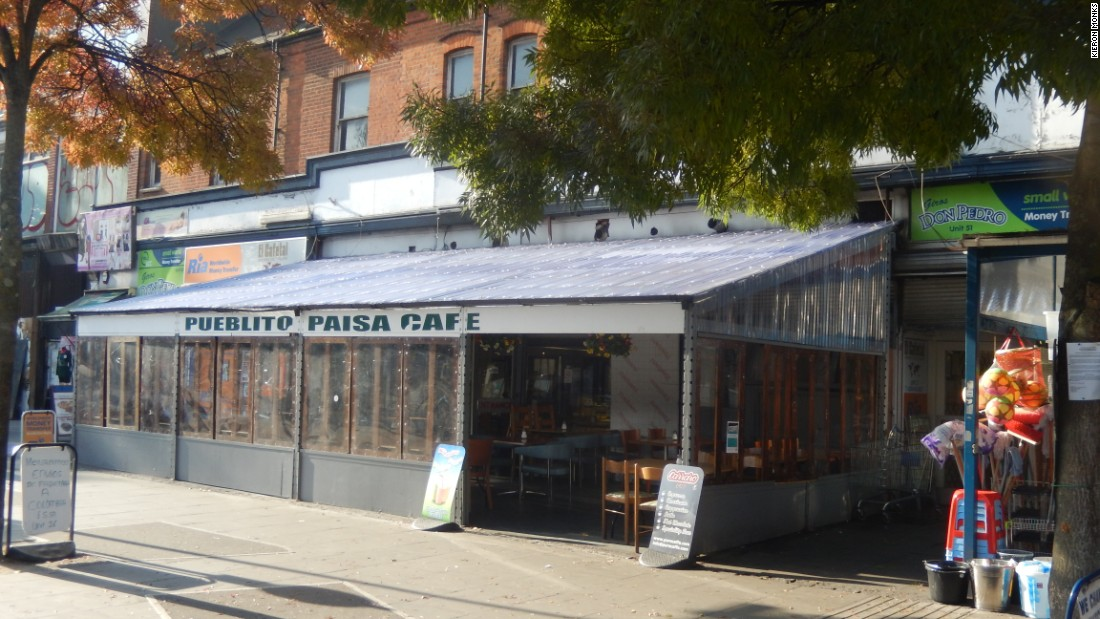 The 'Pueblito Paisa' cafe at the front of Seven Sisters market, a popular location for concerts, live sport and empanadas. <br /><br />Pueblito - meaning little village - is also used as a name the indoor market