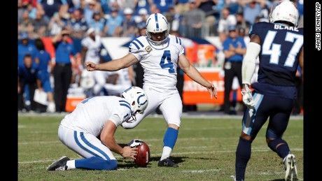 Indianapolis Colts kicker Adam Vinatieri connects on a 33-yard field goal against the Tennessee Titans in Week 7. It was the 43rd consecutive field goal for Vinatieri, an NFL record.