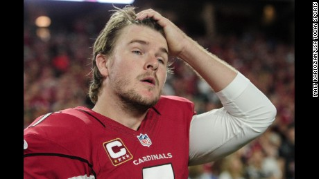 Arizona Cardinals kicker Chandler Catanzaro looks on after missing a field goal in overtime against the Seattle Seahawks at University of Phoenix Stadium. Seattle's kicker, Steven Hauschka, missed as well, and the game ended in a 6-6 tie.