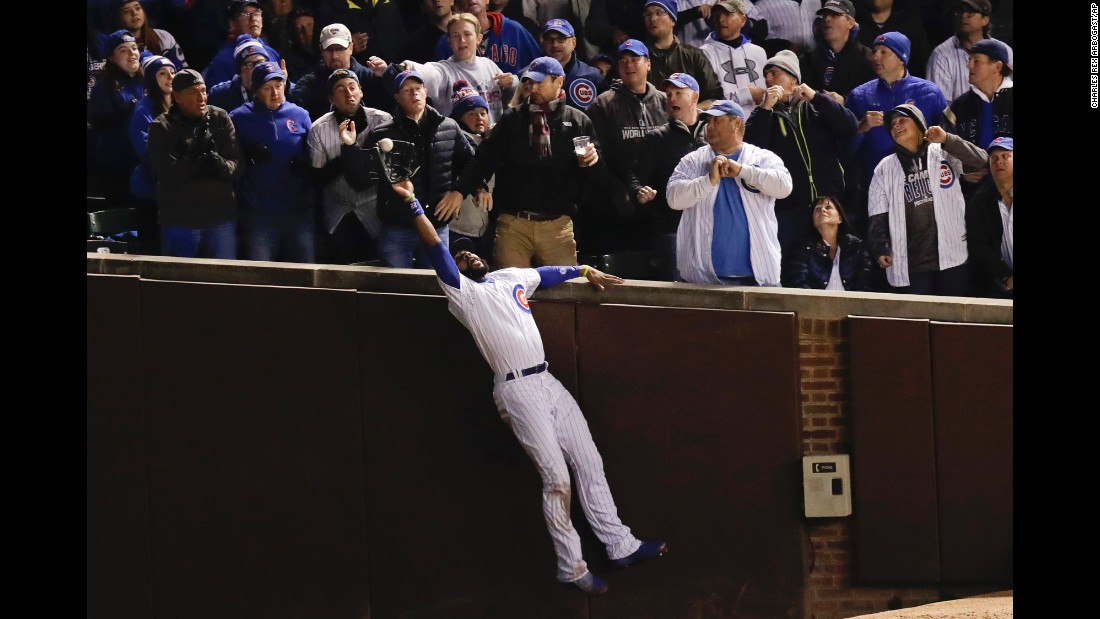 "Chicago Cubs right fielder Jason Heyward catches a fly ball during Game 5 of the World Series on Sunday, October 30. The Cubs <a href=""http://www.cnn.com/2016/10/30/sport/world-series-game-5-cleveland-indians-chicago-cubs/"" target=""_blank"">won the game</a> but still trail the Cleveland Indians 3-2 in the best-of-seven series."
