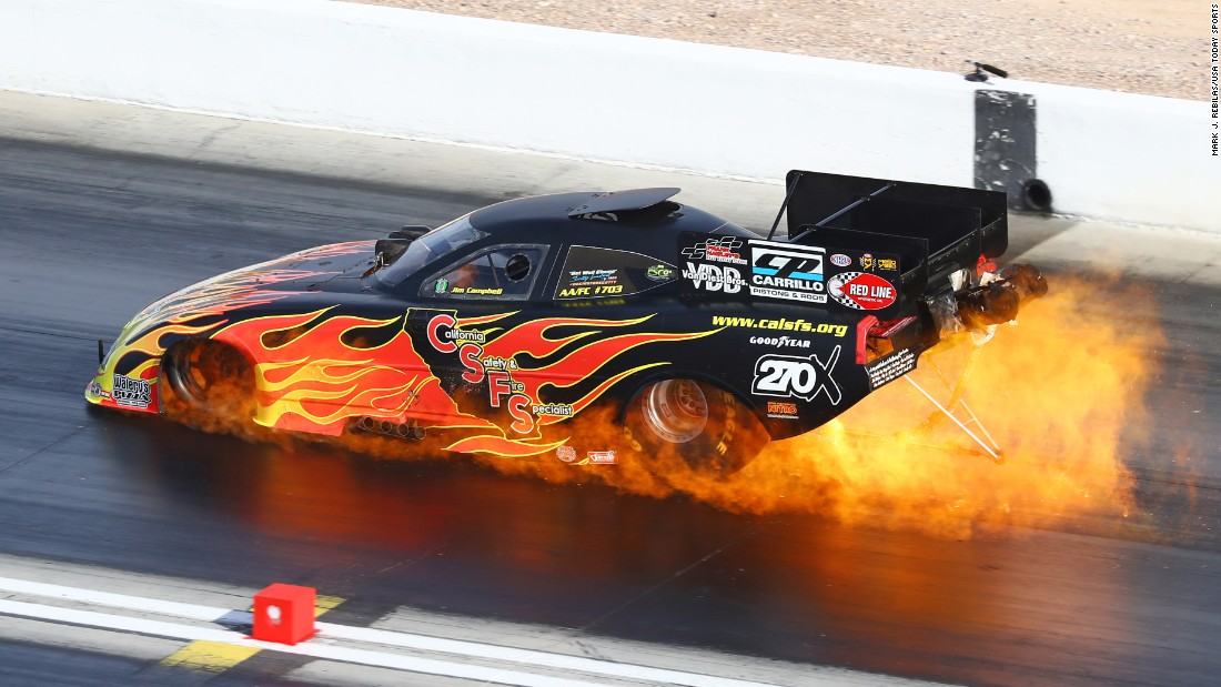 Jim Campbell's engine caught fire Saturday, October 29, during NHRA qualifying at Las Vegas Motor Speedway. He was unhurt.