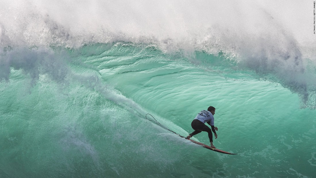 Balaram Stack takes part in a surfing competition in Nazare, Portugal, on Monday, October 31.