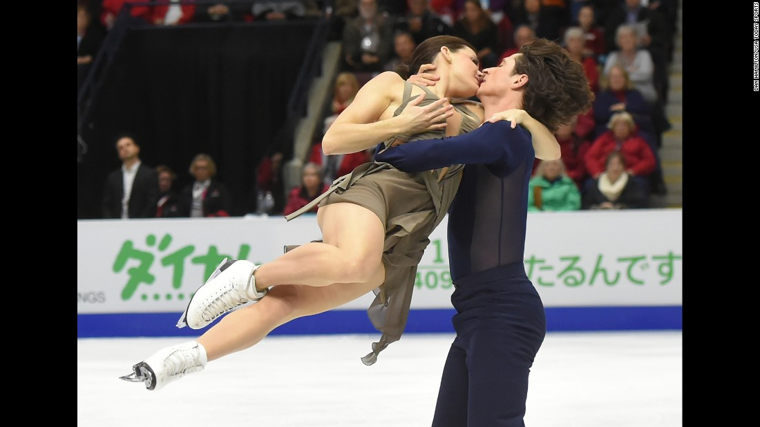 Canadian ice dancers Tessa Virtue and Scott Moir perform at the Skate Canada International on Friday, October 29. They finished in first.