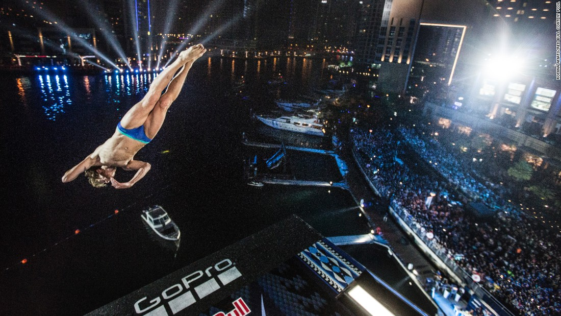 Gary Hunt dives off a platform in Dubai, United Arab Emirates, on Friday, October 28. It was the final stop of the Red Bull Cliff Diving World Series, which Hunt has won six years in a row.