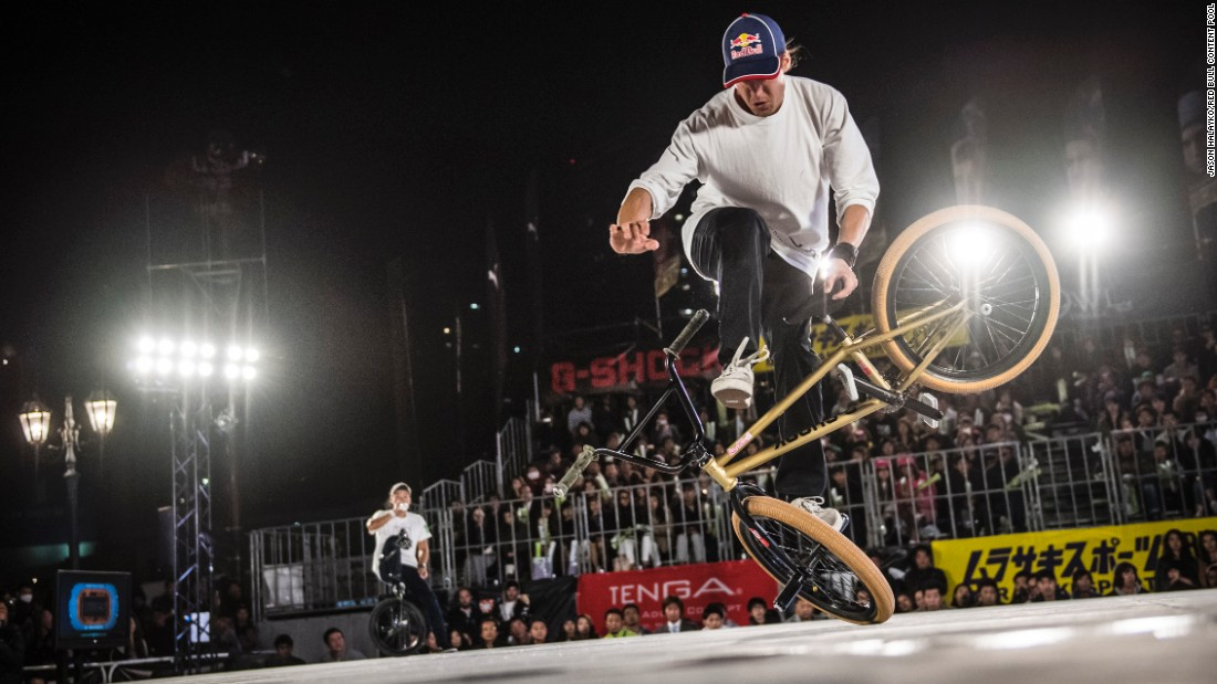 Viki Gomez performs during the finals of the BMX Flatland World Championship, which took place in Kobe, Japan, on Sunday, October 30. Gomez finished in first.