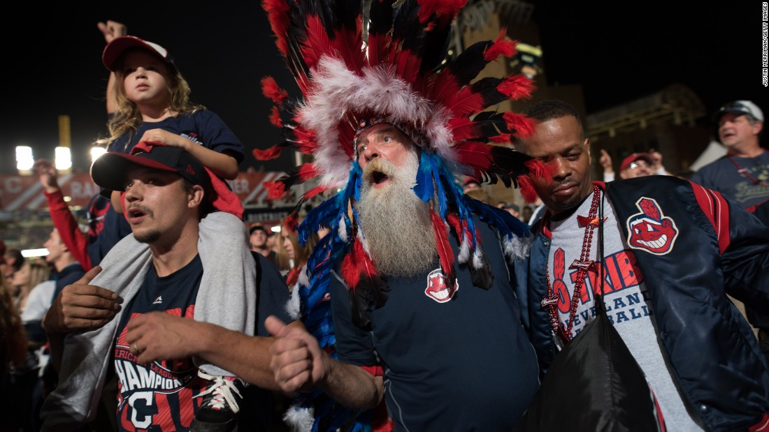 Indians fans congregate outside Progressive Field during game 6.
