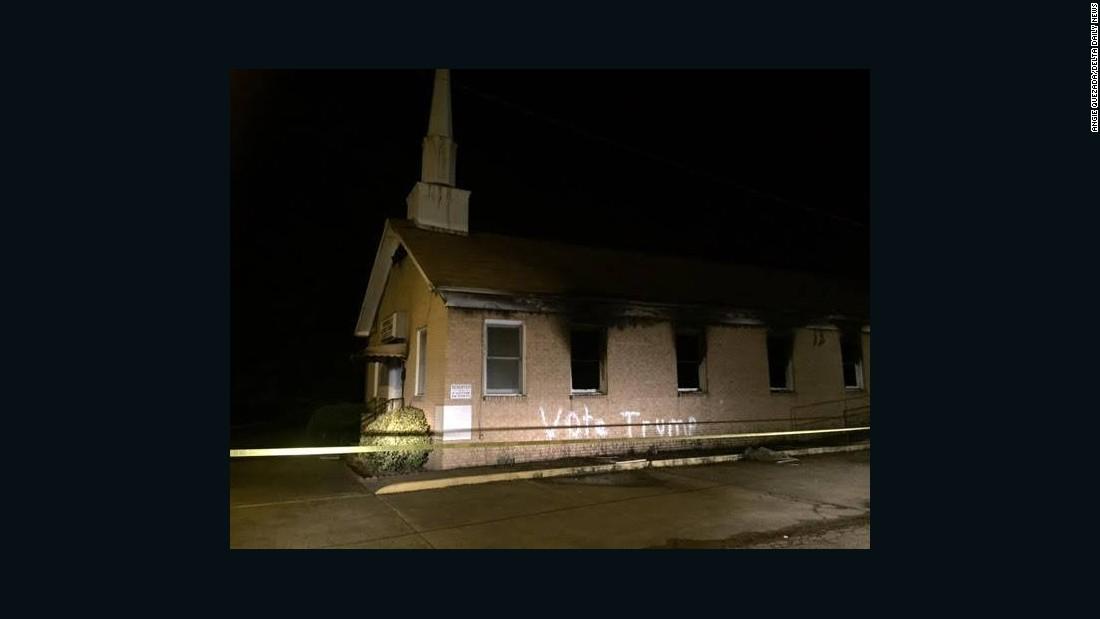 'Vote Trump' painted on black church set ablaze in Mississippi