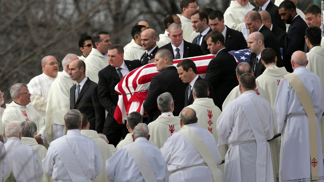 "Pallbearers carry the flag-covered casket of Supreme Court Justice Antonin Scalia during his funeral in Washington on February 20, 2016. The vacancy left by Scalia's death -- and when and how to fill it -- <a href=""http://www.cnn.com/2015/09/11/politics/supreme-court-2016-election/"" target=""_blank"">added another hot-button topic</a> to the presidential campaign."