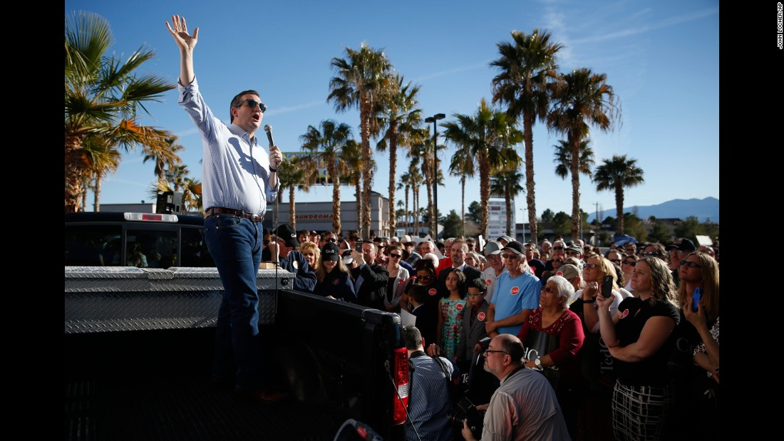 Cruz speaks from a truck bed at a rally in Pahrump, Nevada, on February 21, 2016.