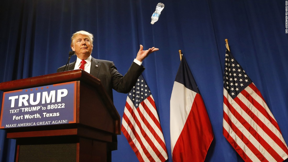 "Trump tosses a water bottle while speaking to supporters in Fort Worth, Texas, on February 26, 2016. <a href=""http://www.cnn.com/videos/politics/2016/02/26/donald-trump-marco-rubio-water-state-of-the-union.cnn"" target=""_blank"">He was mocking Rubio's 2013 State of the Union response,</a> where Rubio took a sip of water mid-speech."