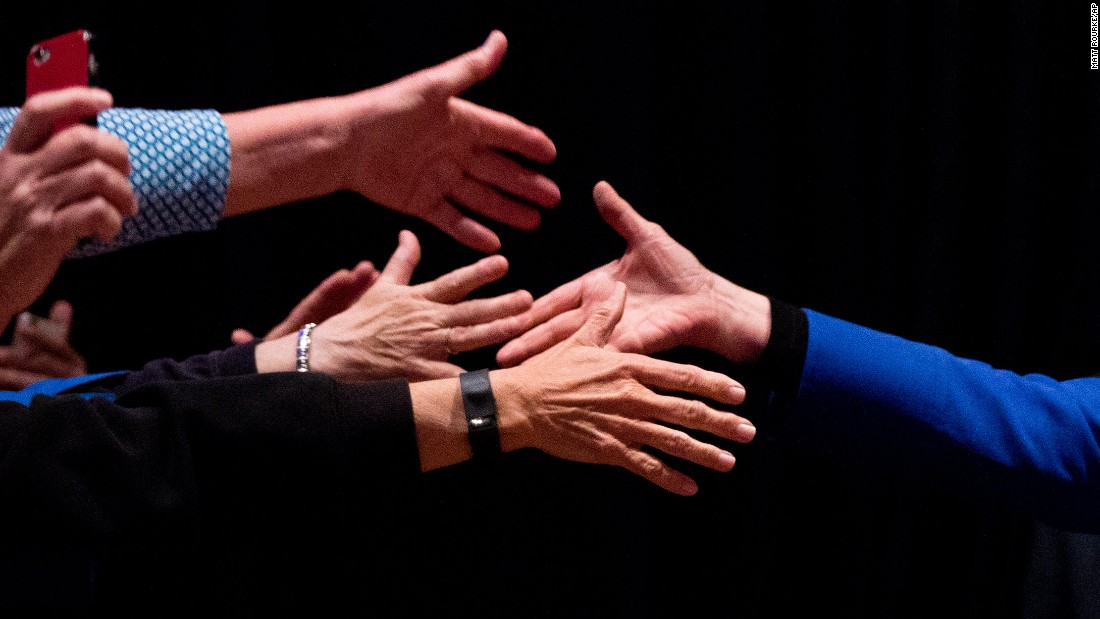Clinton shakes hands during a campaign event in Wilmington, Delaware, on April 25, 2016.