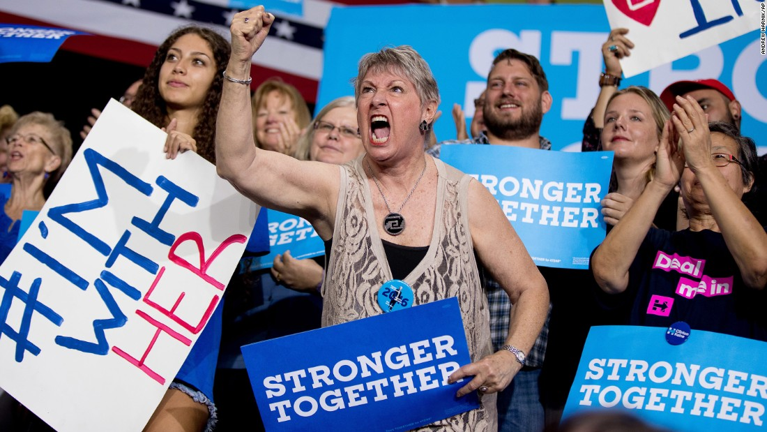 A Clinton supporter cheers at a rally in Tampa, Florida, on September 6, 2016.