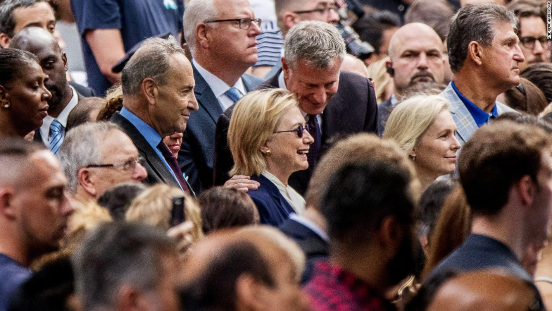 "Clinton is accompanied by New York Mayor Bill de Blasio during a ceremony at the city's 9/11 memorial on September 11, 2016. Clinton, who was <a href=""http://www.cnn.com/2016/09/11/politics/hillary-clinton-health/"" target=""_blank"">diagnosed with pneumonia</a> two days prior, left early after feeling ill. <a href=""http://www.cnn.com/video/data/2.0/video/politics/2016/09/12/clintons-pneumonia-jolts-race-pkg-zeleny-newday.cnn.html"" target=""_blank"">Video appeared to show her stumbling</a> as she left the event."