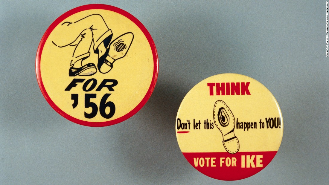 Campaign buttons for Eisenhower's re-election bid, where he again faced Adlai Stevenson. The illustrations were inspired by a photograph of Stevenson sitting cross-legged with a hole in the bottom of his shoe.