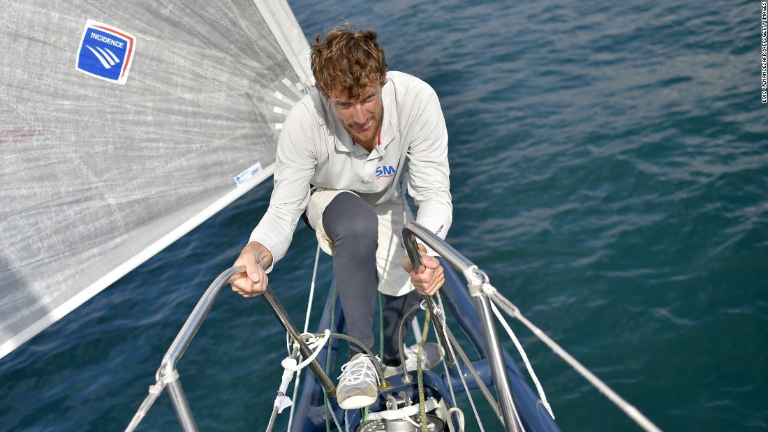 Paul Meilhat, another first-timer, checks the rig of his yacht SMA ahead of the race. Last year the French sailor suffered a fractured pelvis and rib during a solo event.