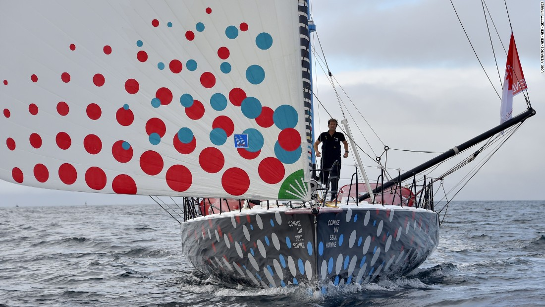 Eric Bellion in calm waters on his yacht Comme Un Seul Homme (Like a Lone Man) off the Port-la-Foret coast, western France. An experienced ocean racer, he is making his Vendee Globe debut.