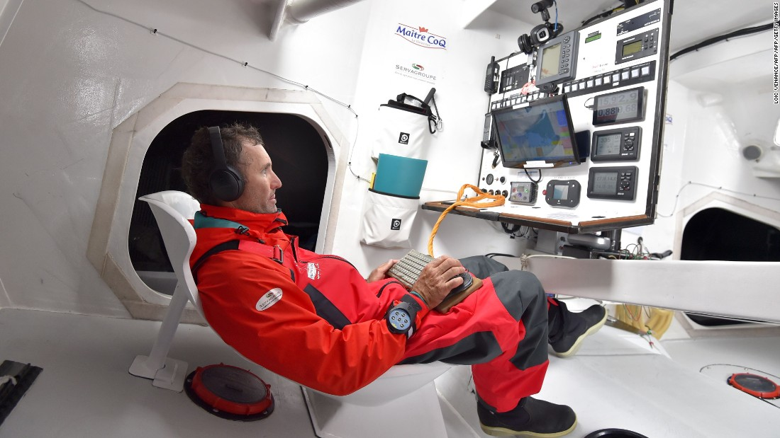 Frenchman Jeremie Beyou at the nerve center of  his Maitre Coq monohull off Lorient, western France. He has failed to finish the last two Vendee Globes.