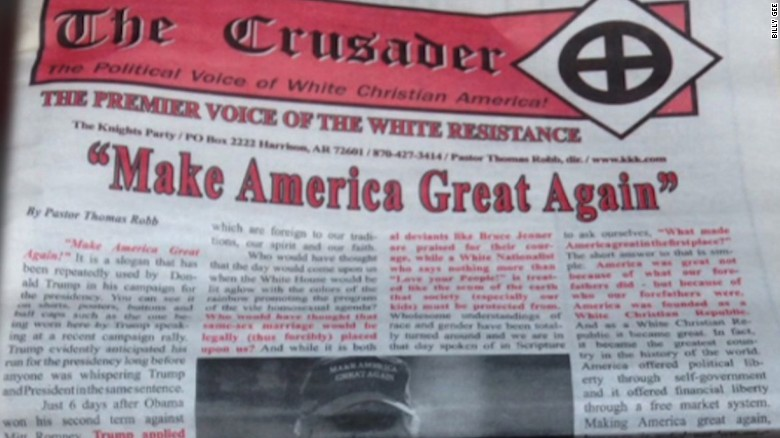 Trump campaign denounces KKK newspaper endorsement