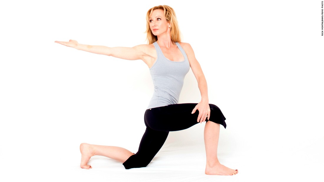 Start in a kneeling lunge with your right leg forward and left knee down, with your left toes curled under. Place your left hand on the outside of your right thigh. Rotate your straight right arm behind you with your palm facing up. Turn your head to follow your right arm. Draw your right shoulder blade down to keep your shoulder from lifting and neck muscles off. Take three long, deep breaths. Repeat on the other side.