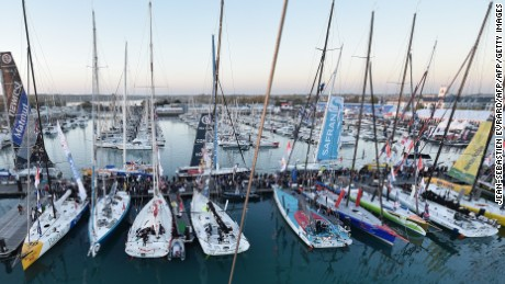 Calm before the storm -- the Vendee Globe fleets sits in harbor ahead of the race.
