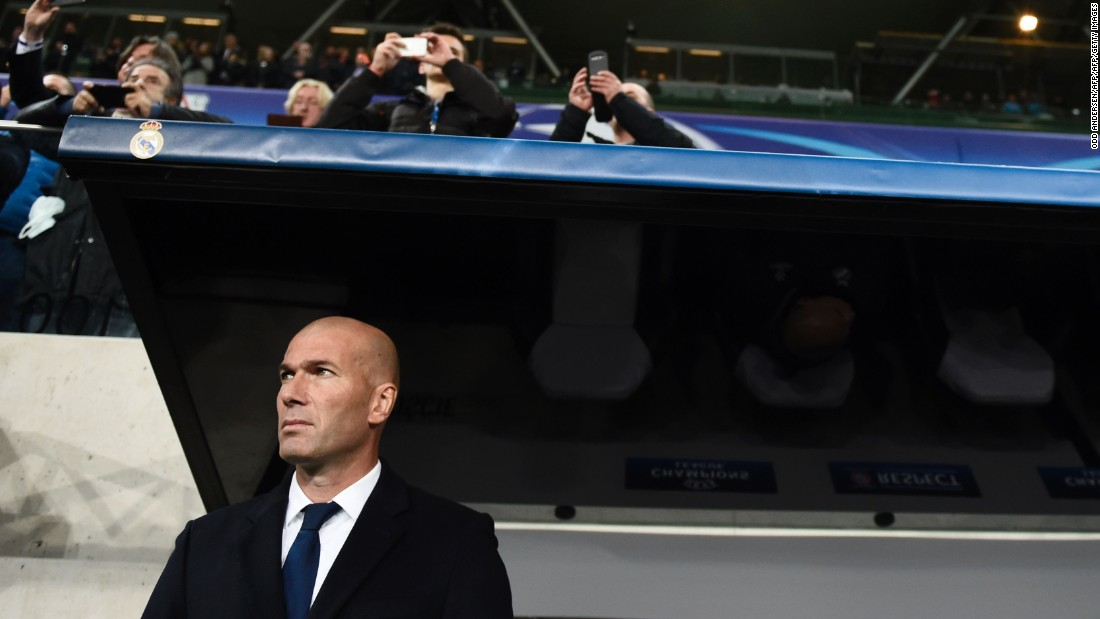 Coach Zinedine Zidane watched on as Karim Benzema doubled Real's lead, finishing of a flowing team move.